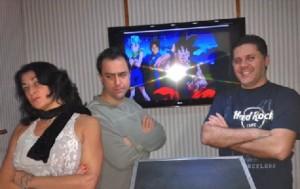 Tânia Gaidarji (Bulma), Alfredo Rollo (Vegeta) e Wendel Bezerra (Goku) na UniDub